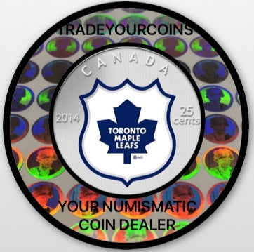 2014 Canada Cupronickel Quarter - 25 Cents-National Hockey League-Toronto Maple Leafs