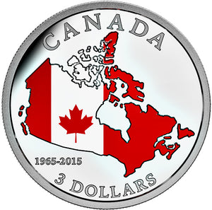 2015 Canada 3$ Fine Silver Coin - 50TH Anniversary of the canadian Flag (1965)