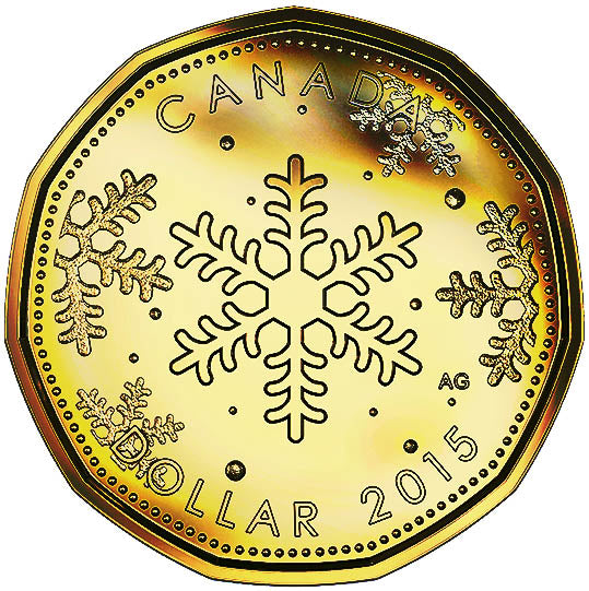 2015 Canada Uncirculated Loonie Dollar from Holiday Gift Set-Snowflake Design