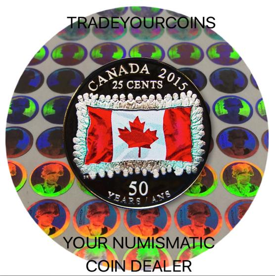 2015 Canada 25 Cents Nickel Proof 50 th Anniversary of the Canadian Flag