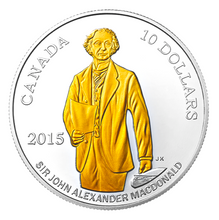 2015 Canada Fine Silver $10 Ten Dollars-200th Anniversary Birth Sir John A. MacDonald