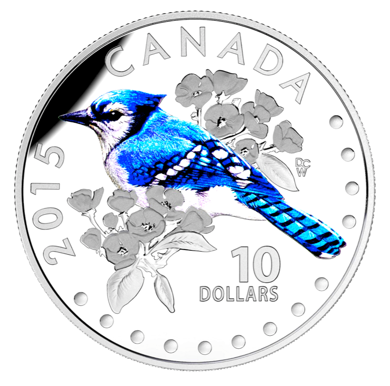 2015 $10 Colourful Songbirds of canada-The Blue Jay