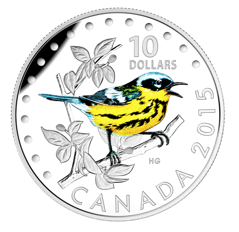 2015 $10 Colourful Songbirds of canada-The Magnolia Warbler