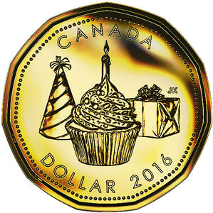 2016 Canada Uncirculated Loonie Dollar from Birthday Gift Set-Cake Design