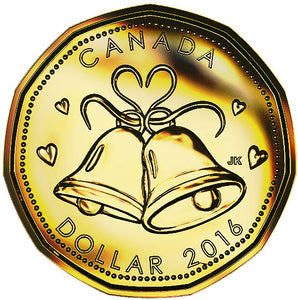 2016 Canada Uncirculated Loonie Dollar from Wedding Gift Set-Bell Design