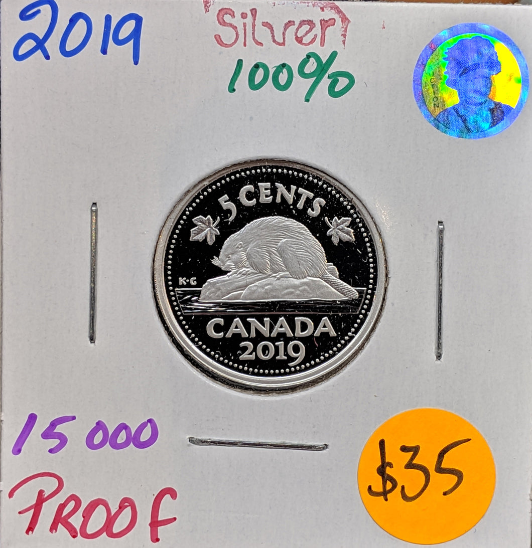 2019 Canada Fine Silver Proof 5 Cents- Beaver