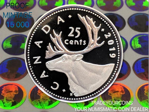 2019 Canada Fine Silver Quarter Proof Caribou - 25 Cents