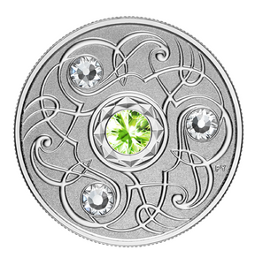 2020 Canada Fine Silver $5 Five Dollars- Birthstones: August-Peridot