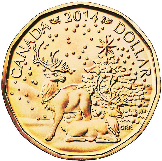 2014 Canada Uncirculated Loonie Dollar from Holiday Gift Set-Reindeer Design