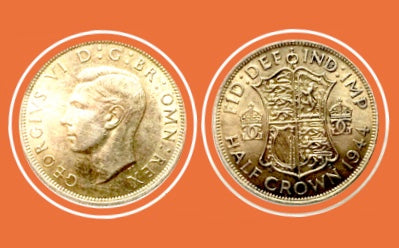 1944 Great BRITAIN Half Crown Georges V -Silver Coin - Lot-208