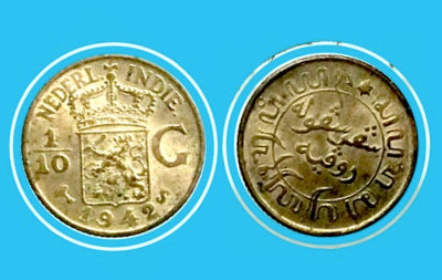 1942 s Netherlands West Indies 1/10 Gulden -Silver Coin - Lot-212