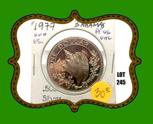 1977 Bahamas One Dollar Proof Sterling Silver- Lot:245