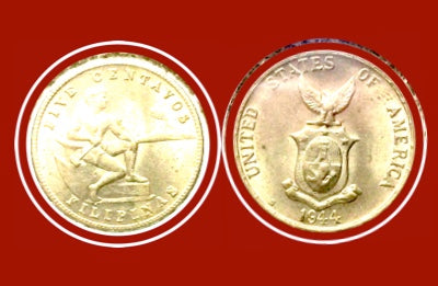 1944  Philippines five Centavos Silver Coin Lot-254