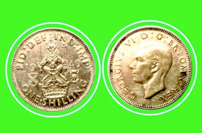 1940 United Kingdom 1 Shilling - George V- Scottish crest Silver Coin Lot-257