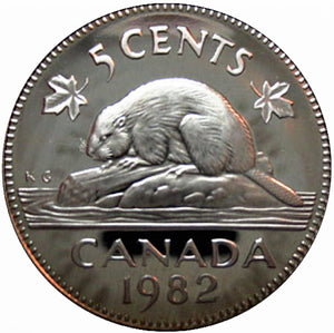 1982 Canada Five Cents Nickel proof Heavy cameo