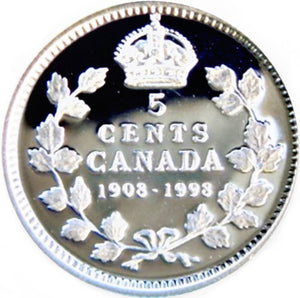 1908-1998 Canada Five Cents Sterling Silver  proof Heavy cameo