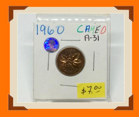 1960 Canada Small One Cent Cameo-Elizabeth II- lot # A31