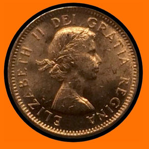 1955 Canada Small One Cent Elizabeth II- lot # A17