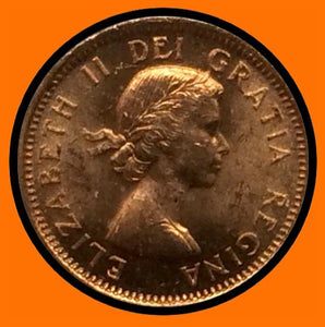 1955 Canada Small One Cent Elizabeth II- lot # A18