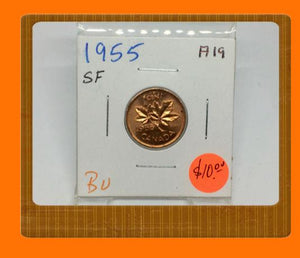 1955 Canada Small One Cent Elizabeth II- lot # A19