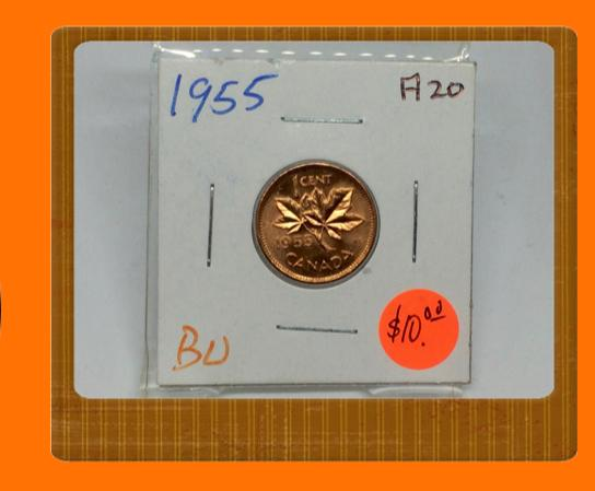 1955 Canada Small One Cent Elizabeth II- lot # A20