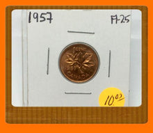 1957 Canada Small One Cent Elizabeth II- lot # A25