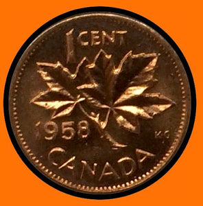 1958 Canada Small One Cent Elizabeth II- lot # A27