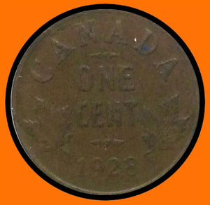 1928 Canada Small One Cent George V lot # A3