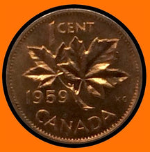 1959 Canada Small One Cent Elizabeth II- lot # A30