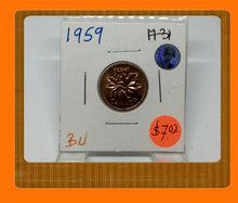 1959 Canada Small One Cent Elizabeth II- lot # A31