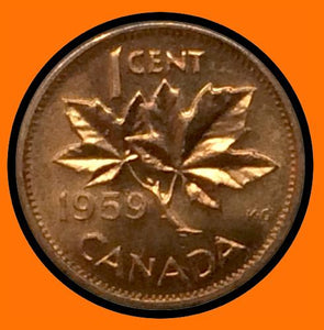 1959 Canada Small One Cent Elizabeth II- lot # A33