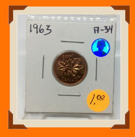 1963 Canada Small One Cent -Elizabeth II- lot # A34