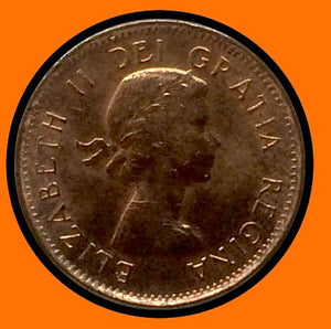 1962 Canada Small One Cent FULL MOON STYLE-Elizabeth II- lot # A35