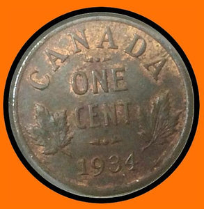 1934 Canada Small One Cent Red Brown George V lot # A38