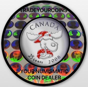 2008 Canada Nickel Coloured Quarter - 25 Cents Canada Day- UNC