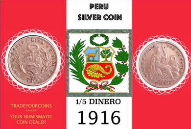 1916 Peru 1/5 Sol, Silver Coin Lot:302 - Trade your coins