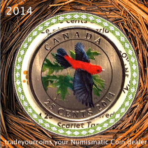 2014 Canada Nickel Quarter - 25 Cents Birds of Canada Series, Scarlet tanager