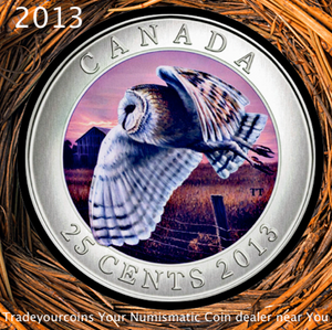 2013 Canada Cupronickel Quarter - 25 Cents -Barn Owl Coloured Coin