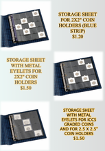 "STORAGE SHEET FOR 2X2"" COIN HOLDERS (BLUE STRIP), (METAL EYELETS),(2.5.X2.5, GRADED COINS)"