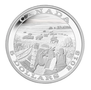2013 Canada Fine Silver Five Dollars-Aboriginal of hunting series-Bison