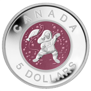 2013 Canada Fine Silver and Niobium Five Dollars Coin -Mother and Baby Ice Fishing