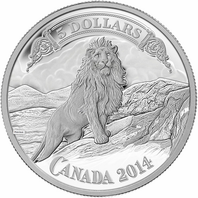 2014 Canada Fine Silver Five Dollars-Lion on Mountain Vignette-Northern crown Bank