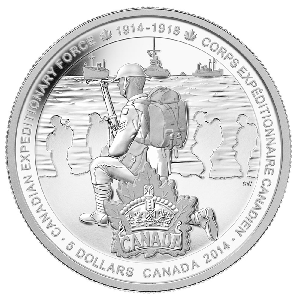 2014 Canada Fine Silver $5 Five Dollars-Canadian Expeditionary Force
