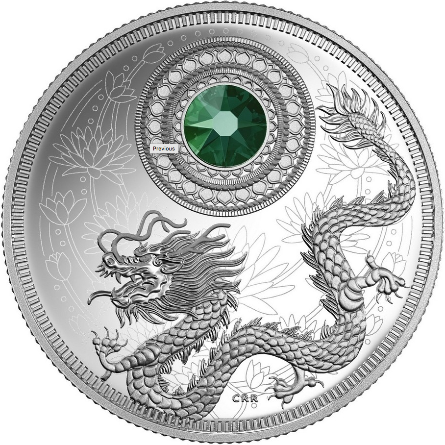 Canada Fine Silver $5 Five Dollars- Birthstones: May-Emerald