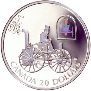 2000 Canada 20 Dollars Transportation on Land, Sterling coin #  1 H.S Taylor Steam Buggy