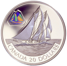 2000 Canada 20 Dollars Transportation on Land, Sterling coin #  2 The Bluenose