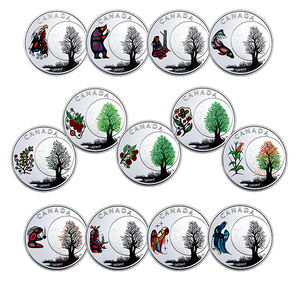 2018 Canada 3$ Fine Silver Coin - Teaching From Grandmother Moon Series-Falling Leaves Moon
