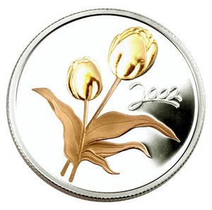 2002 Fifty Cents- Gold Plated-Canadian Tulip, 50th Anniversary Festival
