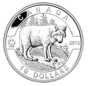 2013 Canada Fine Silver $10 Ten Dollars-The Wolf