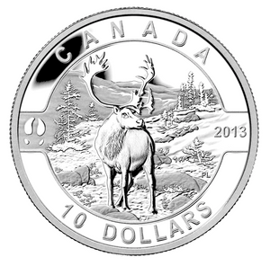 2013 Canada Fine Silver $10 Ten Dollars-The Caribou